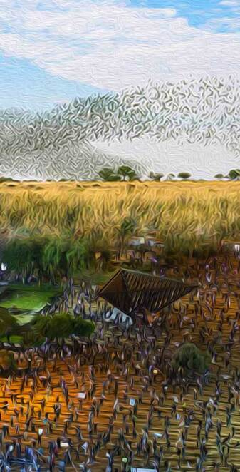 An oil painting of a protest in Israel blended with a flock of birds in the prairies by Jesse Hodsman